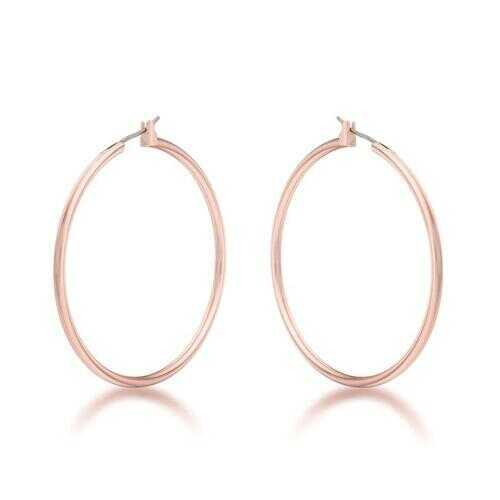 45mm Rose Gold Plated Hoop Earrings