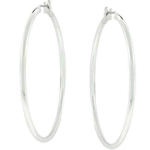 Large Silvertone Finish Hoop Earrings