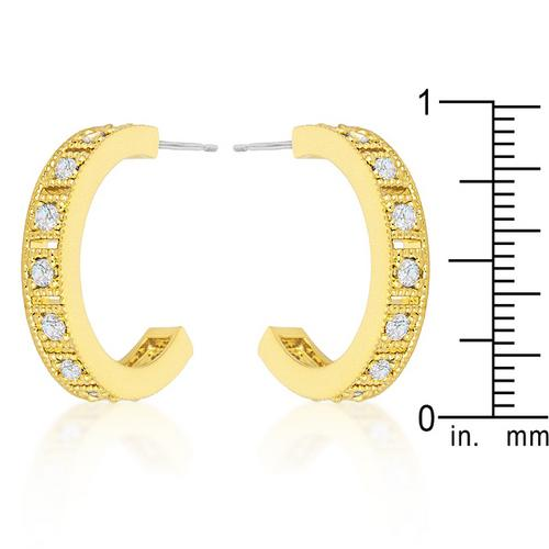 Roma Goldtone Finish Crystal Hoop Earrings