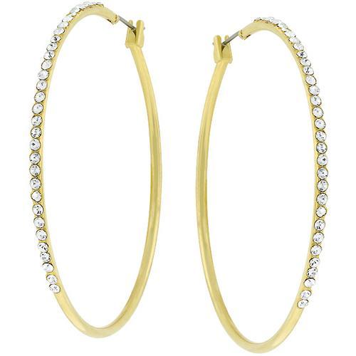 2 Inch Goldtone Crystal Hoop Earrings