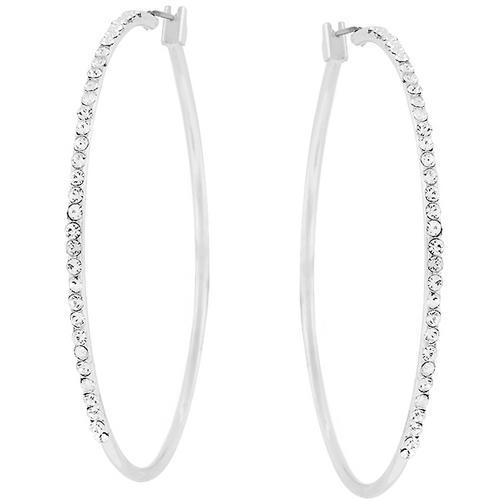 2 Inch Rhodium Plated Finish Cubic Zirconia Hoop Earrings