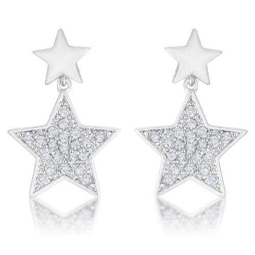 Bianca 0.5ct CZ Rhodium Star Drop Earrings