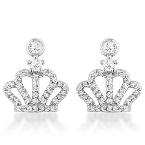 0.5 Ct Rhodium Crown CZ Earrings