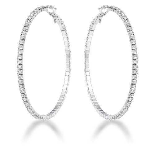 3.85Ct Silvertone Cup Chain Hoop Earrings
