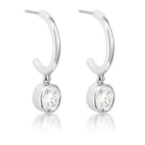 7mm Cz Rhodium Plated Drop Hooplet Earrings