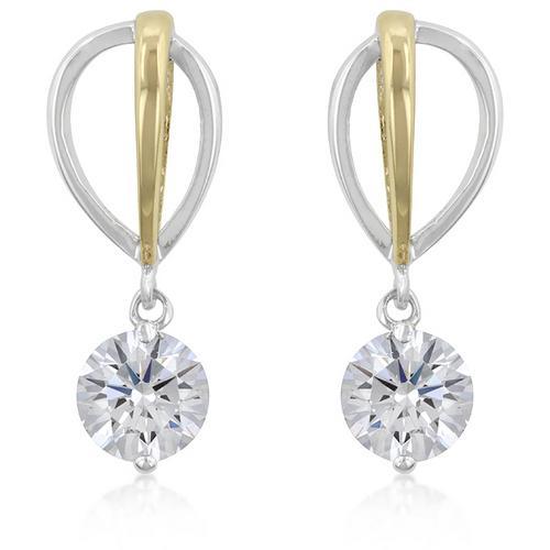 Two-tone Finish Cubic Zirconia Drop Earrings