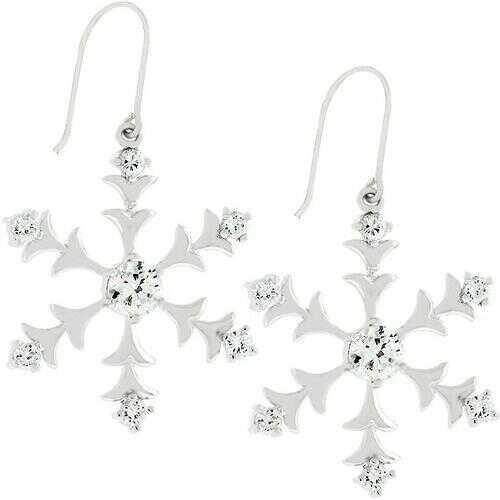 Silver Snowflake Dangle Earrings