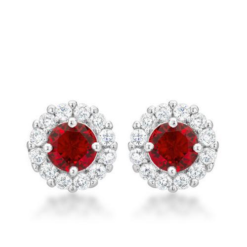 Bella Bridal Earrings in Ruby Red