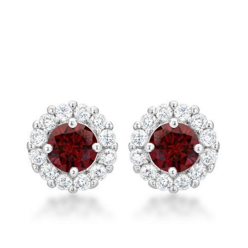 Bella Bridal Earrings in Garnet Red