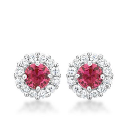 Bella Bridal Earrings in Pink