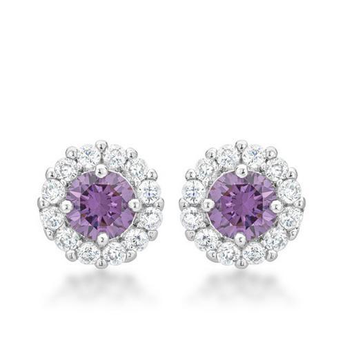 Bella Bridal Earrings in Purple