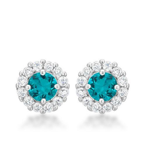 Bella Bridal Earrings in Aqua