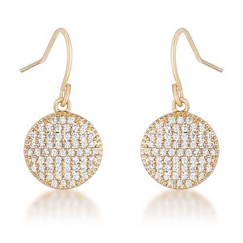 .6 Ct Elegant CZ Gold Plated Disk Earrings
