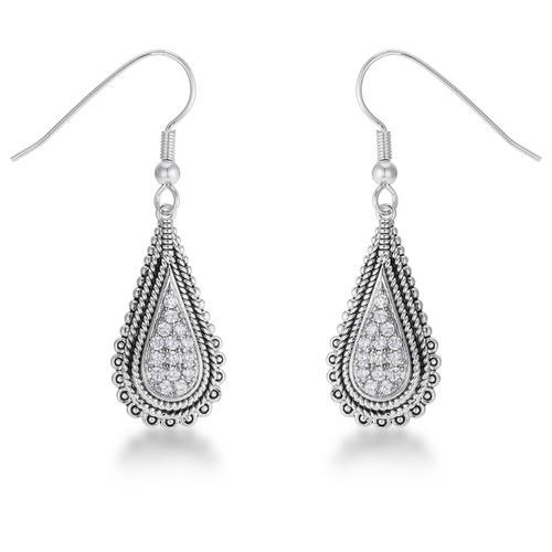 .45 Ct Tear Drop Rhodium Earrings with CZ