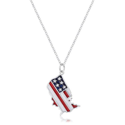 .015 Ct Patriotic U.S. Map Necklace