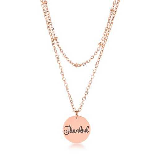 """Delicate Rose Gold Plated """"Thankful"""" Necklace"""