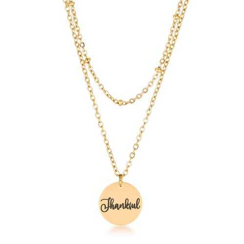 """Delicate 18k Gold Plated """"Thankful"""" Necklace"""
