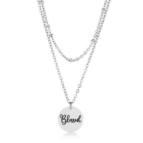 """Delicate Stainless Steel """"Blessed"""" Necklace"""