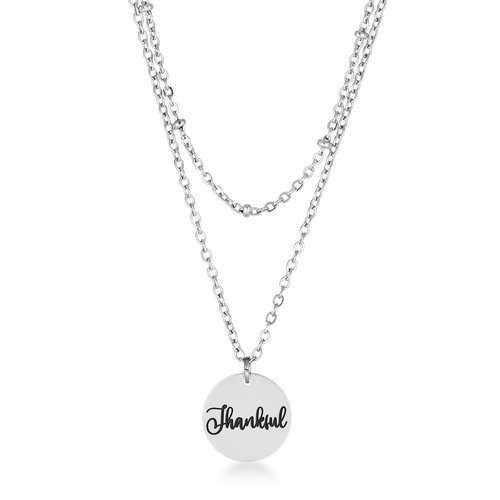 """Delicate Stainless Steel """"Thankful"""" Necklace"""