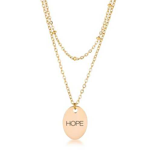 """18k Gold Plated Double Chain """"HOPE"""" Necklace"""