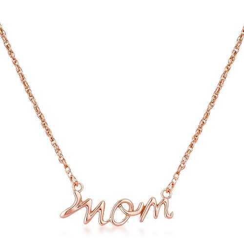 18k Rose Gold Plated Mom Script Necklace