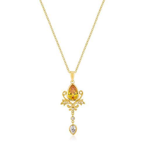 Golden Elegant Teardrop Crest Pendant