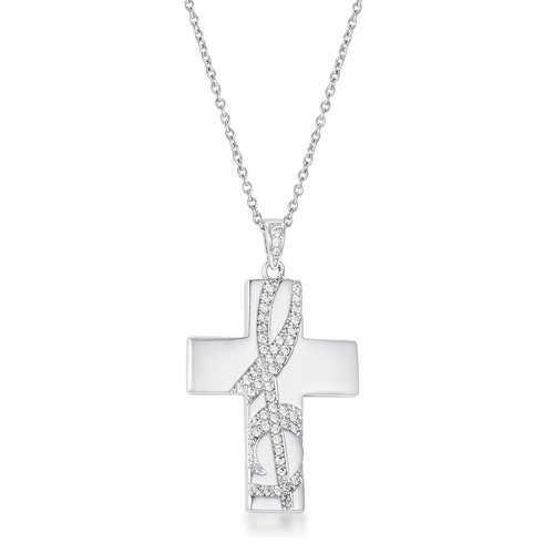 .75Ct Rhodium Pated Elegant CZ Accented Treble Clef Cross Pendant