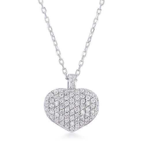 2.65Ct Rhodium Plated Double-Sided Cubic Zirconia Pave Heart Pendant