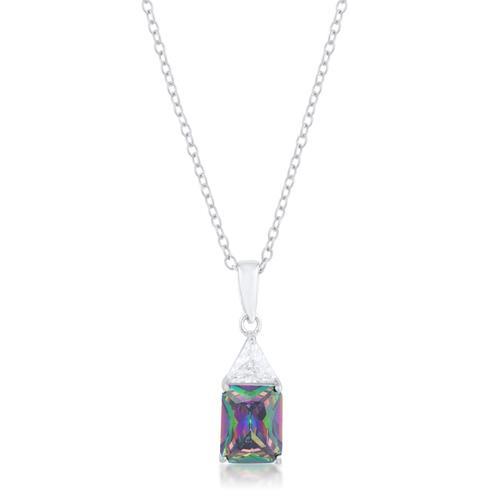 Classic Mystic Cubic Zirconia Rhodium Drop Necklace