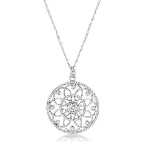 1.4 Ct Rhodium Pendant Necklace with Interlocking Circles and CZ