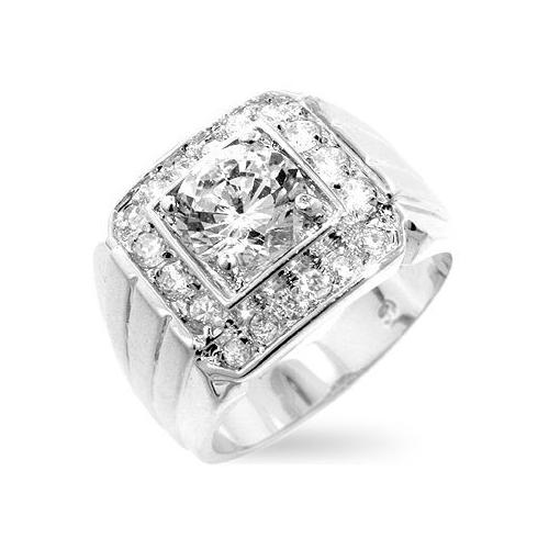 Men's Two-tone Finish Cubic Zirconia Ring