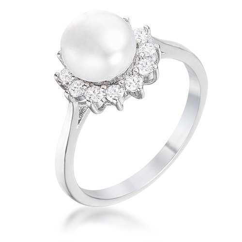 .36Ct Rhodium Plated Freshwater Pearl and CZ Halo Ring