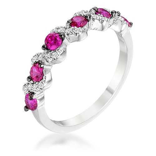 .18Ct Rhodium and Hematite Plated S Shape Fuchsia and Clear CZ Half Eternity Band
