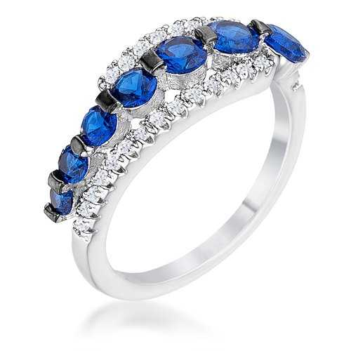 1.06Ct Rhodium & Hematite Plated Graduated Blue & Clear CZ Half Eternity Ring