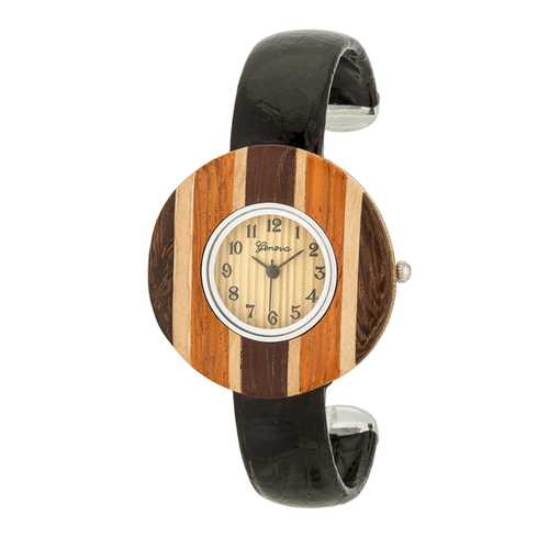 Brenna Black Wood Inspired Leather Cuff Watch