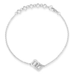 .1 Ct Rhodium Bracelet with Interlocking Floral Links