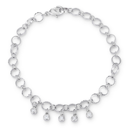 ".55 Ct Stunning 8"" Rhodium Bracelet with CZ Charms"