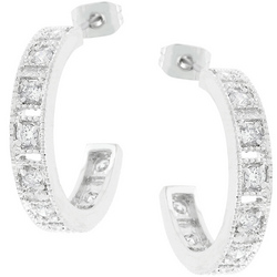 Studded Cubic Zirconia Hooplet Earrings