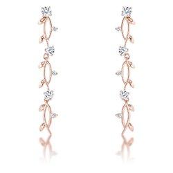 1.1Ct Vine Design Rose Gold Plated Earrings