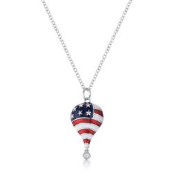 .1 Ct Patriotic Hot Air Balloon Rhodium Necklace with CZ