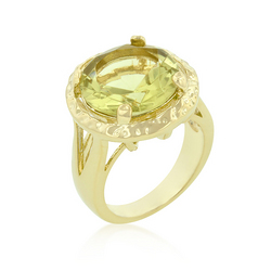 Yellow Cubic Zirconia Organic Ring