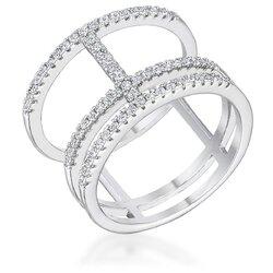 0.5Ct Rhodium Parallel Ring with Brilliant CZ