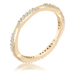 .42Ct Dainty 18k Gold Plated Micro Pave CZ Stackable Eternity Ring