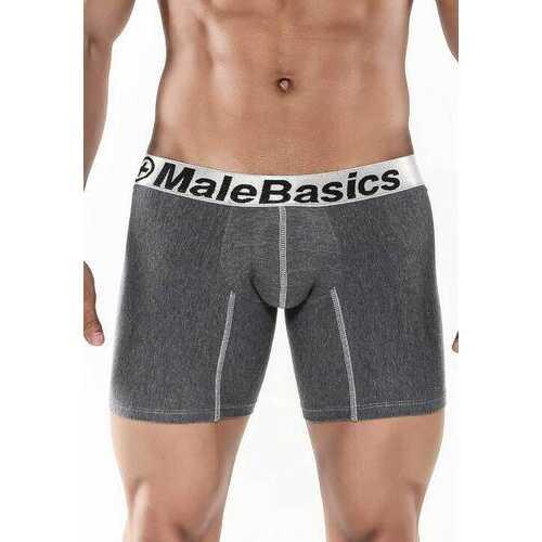 MaleBasics Men's Cotton Lycra Atlethic Boxer Brief-Asphalt-Large