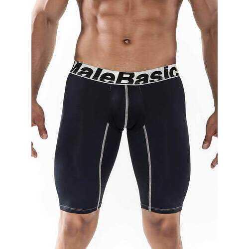 MaleBasics Men's Base Layer Performance Sport 9 Inches Boxer Brief-Black-Small