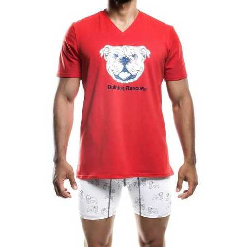 SoCal Bulldog V-Neck T-Shirt Red-Small-Red