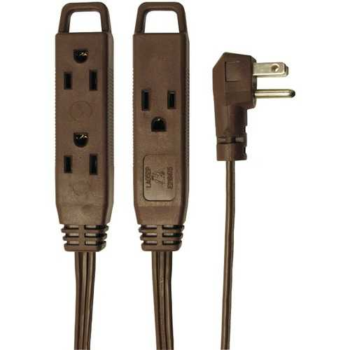 Axis 45504 3-Outlet Brown Wall-Hugger Indoor Grounded Extension Cord, 8ft