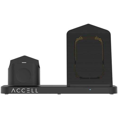 Accell D233B-001B 3-in-1 Fast-Wireless Wireless Charging Station for iPhone, Android Smartphones, Apple Watch 6/5/4/3/2, and AirPods 1/2/Pro (Black)
