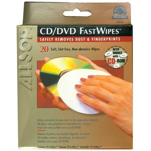 Allsop 50100 CD FastWipes, 20 Pack