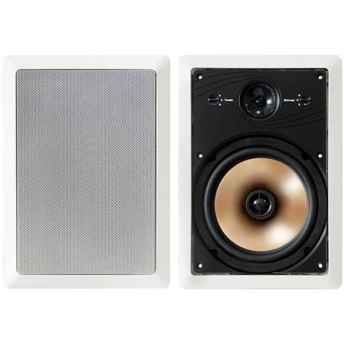 "BIC America HT8W 175-Watt Acoustech 8"" 3-Way In-Wall Speakers with Adjustable Tweeters & Pivoting Midranges"